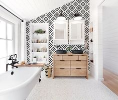 Traditional bathroom 575686764866142265 - Traditional scandinavian pattern wallpaper in a white boho interior – a perfect combination! Visit our site to see full Scandi boho wallpaper collection! Source by benoistmarion Traditional Interior, Contemporary Interior Design, Traditional Bathroom, Bathroom Interior Design, Decor Interior Design, Bathroom Designs, Traditional Wallpaper, Bathroom Ideas, Modern Interior