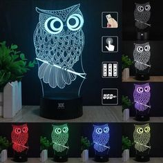 Owl On Perch 7 Color Changing 3D LED Desk Lamp Or Night Light