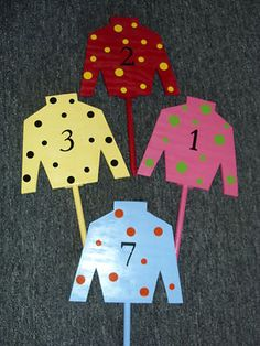 JOCKEY SILK Yard Stakes- made for you-choose colors and number. KY Derby Party on eBay!