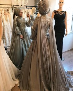Image may contain: 3 people Muslim Wedding Gown, Muslimah Wedding Dress, Muslim Wedding Dresses, Muslim Dress, Hijab Dress, Bridal Dresses, Bridesmaid Dresses, Prom Dresses, Wedding Outfits