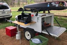 Kyle is a nice compact DIY Explorer Box style gear hauler camping trailer. Notice the removable side table made with our hardware kit. Jeep Camping, Off Road Camping, Camping Snacks, Motorcycle Camping, Best Camping Gear, Camping Table, Outdoor Camping, Hiking Gear, Backpack Camping