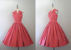Amaaazing 1950s crisp red printed cotton halter dress with dramatic oversized collar,  fitted, low-back bodice, nipped waist and extremely full skirt