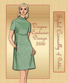 1960s Dress Pattern Vogue Couturier Design 2336 by Designer Sybil Connolly Couture Bias Cut One Piece Semi Fitted Bodice