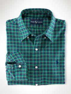 Polo Ralph Lauren custom fit green twill plaid.
