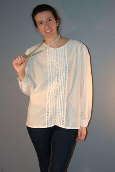 1980s White Lace Blouse / Vintage Laura Mae Top. $18.00, via Etsy.