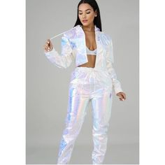 Make an offer! Neon Outfits, Rave Outfits, Edgy Outfits, Outfits For Teens, Fashion Outfits, Holographic Fashion, Galaxy Fashion, Grey Evening Dresses, Festival Looks