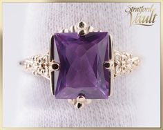 Art Deco ~ Ladies Created Color Change Sapphire Ring ~ Yellow Gold Claw Setting ~ ct Created Blue to Purple Sapphire ~ by StratfordVault on Etsy Color Change Sapphire, Purple Sapphire, Beautiful Gift Boxes, Art Deco, Gems, Jewels, Colour, Yellow, Create