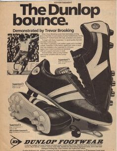 West Ham & England star Trevor Brooking advertises Dunlop Football Boots in Soccer Gear, Soccer Boots, Football Shoes, Retro Football, Vintage Football, Football Posters, Football Memorabilia, Football Stuff, Soccer