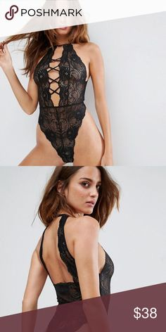 ASOS black lace bodysuit Only worn ONCE for this past Halloween so in perfect condition. See through so definitely would recommend wearing breast petals. Comment if you have any questions!☺️ ASOS Other