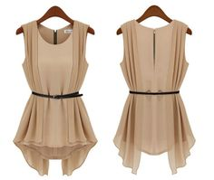 2014 Good Quality Cozy Wear Pleated Zip Up Ruffles Sleeveless Patch Work Blouses