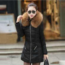 2016 novidades vestidos winter park women medium long style slim wadded jacket with fur collar zipper warm down parkas casacos(China (Mainland))