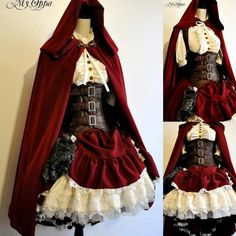 fashion dress cosplay steampunk couture little red riding hood steam punk steampunk dress steampunk tendencies my oppa Steampunk Couture, Steampunk Dress, Steampunk Clothing, Steampunk Fashion, Disney Steampunk Cosplay, Steampunk Halloween Costumes, Steampunk Outfits, Victorian Steampunk, Halloween Halloween