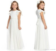 2015 Ivory Cheap Flower Girls'S Dresses Princess A Line Chiffon Bateau Junior Bridesmaid Kids Formal Dress Gowns Floor Length Sash Custom Flower Girl Dresses White Flower Girl Dresses With Sleeves From Sweet Life, $53.91| Dhgate.Com