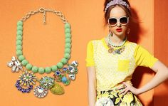 Chromall. Luxurious Green Beaded Big Rhinestone Charm Statement Bib Necklace