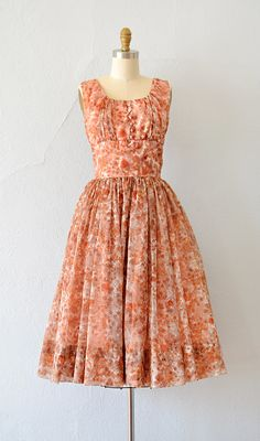 Vintage 1950s orange peach floral party dress | Late Summer Fete Dress by Adored Vintage #vintage #1950s #50svintage