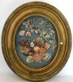 19C Victorian Sailor's Valentine Folk Art collage in oval brass frame w/ coral