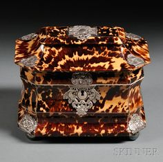 Pagoda-top Tortoiseshell Double Tea Caddy, England, c. 1830, octagonal shape with silver piping and applied embossed mounts,