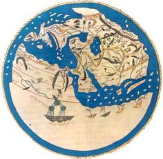 World map by Moroccan cartographer al-Idrisi for king Roger of Sicily. Old Maps, Antique Maps, Vintage Maps, Early World Maps, Medieval, Map Painting, Map Globe, Architecture Tattoo, Historical Maps