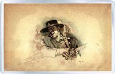 Stevie Ray Vaughan - Plastic Fridge Magnet A