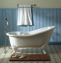 Since the new bathroom doesn't have a shower, maybe we should just rip out the old tub and install a claw foot...