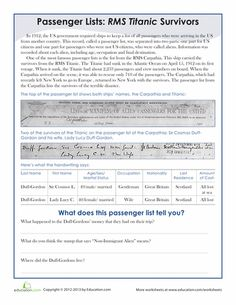 Worksheets: Titanic Passenger List