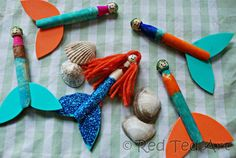 """Welcome back to this week's Kids Crafts – when we made clothes pins mermaids! Clothes pins mermaids have been """"yet another"""" craft that have been on my mind/ to Sea Animal Crafts, Animal Crafts For Kids, Paper Crafts For Kids, Projects For Kids, Art For Kids, Art Projects, Mermaid Crafts, Mermaid Diy, Mermaid Dolls"""