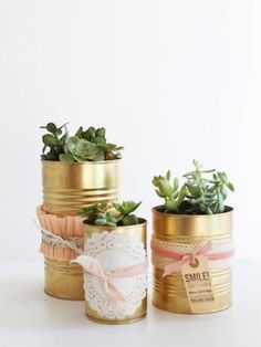spray painted tin cans - Be Crafty