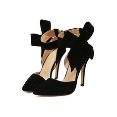 Black With Bow Slingbacks High Heeled Pumps (43 AUD) ❤ liked on Polyvore featuring shoes, pumps, heels, black black, heels stilettos, high heel pumps, black pointed toe pumps, black pointy-toe pumps and slingback pumps