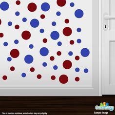 Burgundy / Blue Polka Dot Circles Wall Decals