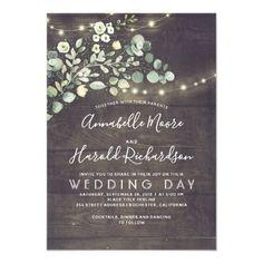 Leafy Greenery | Rustic Country Wedding Invitation