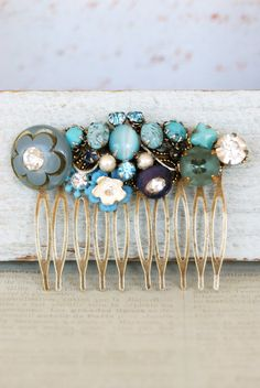 Something Blue Wedding Ideas - Blue antique brass hair comb