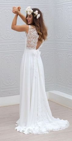 Marie Laporte beach wedding dresses idea / http://www.deerpearlflowers.com/beach-wedding-dresses-with-gorgeous-details/2/