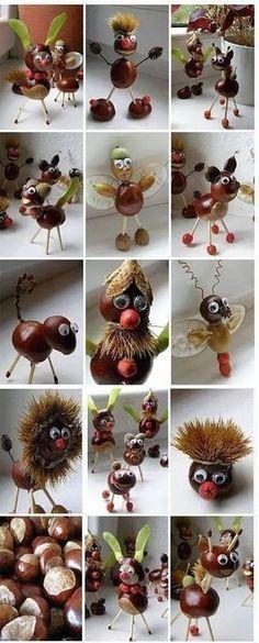 Kastanien mit Blättern – kreative Ideen # Ideen # Kastanien Chestnuts with leaves – creative ideas # Ideas # Chestnuts # … Autumn Crafts, Fall Crafts For Kids, Nature Crafts, Toddler Crafts, Diy For Kids, Kids Crafts, Diy And Crafts, Christmas Crafts, Arts And Crafts