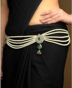 Pearl Sari Belt Cum Statement Necklace with Minakari Jhumki Drop