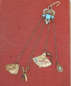 SOLD French fashion doll chatelaine with rare tiny aide memoire. Now available in my RubyLane store-Kim's Doll Gems
