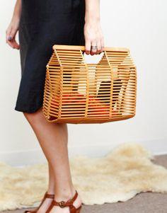 Vintage Bamboo Purse, Handbag / Wood Bamboo Bag / Folded Purse / Asian Art