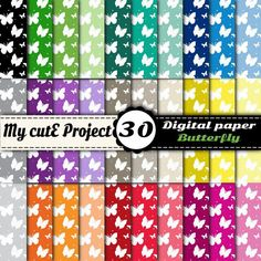 Butterfly  Instant Download  DIGITAL PAPER  pink by Mycuteproject
