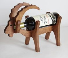 Wine Rack Bottle Holder Wood Goat by InfinitySiberia on Etsy