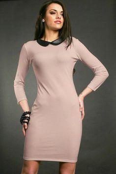 Sukienka z kołnierzem 5713 cappuccino | Odzież damska \ sukienki Odzież damska \ sukienki | Tytuł sklepu zmienisz w dziale MODERACJA \ SEO