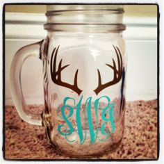 Deer Antler Monogram Mason Jar by BeesKreations on Etsy, $6.50