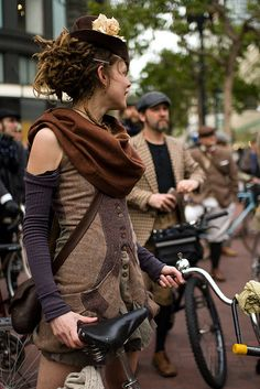 Dressed up for the San Francisco Tweed Ride. The tweed ride originated in London and now takes place in different cities around the world. Participants wear traditional British cycling attire and classic vintage bikes are encouraged.