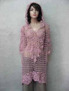 Bohemian crochet ash -pink dress  Transparent irish lace  crochet tunic Handmade Lacy beachwear   crochet biggin dress by TalitaHandMade on Etsy