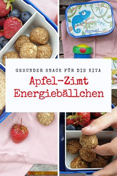 Apfel-Zimt Energiebällchen Rezept - gesunder Snack für die Brotdose von MyMepal - SIMPLYLOVELYCHAOS Ad: My children love their self-designed lunch boxes with the names of MyMepal. Best Holiday Appetizers, Healthy Holiday Recipes, Apple Recipes, Snack Recipes, Lunch Snacks, Healthy Snacks, Banana Sushi, Energy Balls, Balls Recipe