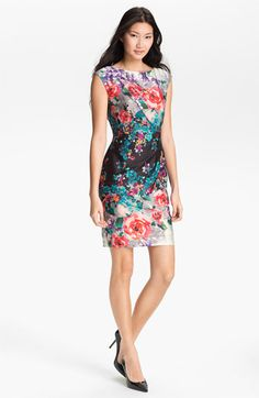 Suzi Chin for Maggy Boutique Print Sheath Dress available at Nordstrom    ~Easter dress w/pink cardigan ~j