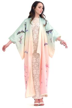 Only in Dreams Ombre Butterfly Silk Kimono | Spanish Moss