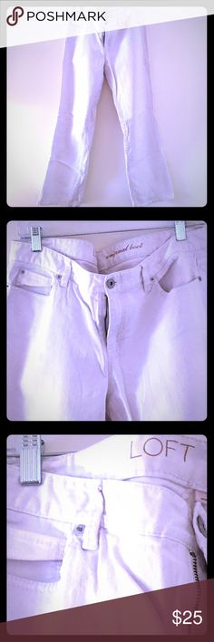 White Jeans Great pair of lightly worn, boot-cut, white jeans from Anne Taylor Loft. Pair with a t-shirt and sneakers or a nice top and sanders. Great for summer LOFT Pants Boot Cut & Flare