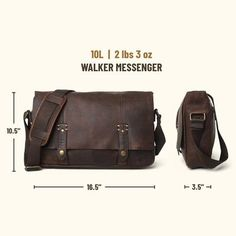 This premium full grain brown leather messenger bag is lightweight and handcrafted for a lifetime of business, luxury, adventure, and more. The clean silhouette says classic professional. The aged oak finish echos vintage men's style. And the adjustable strap and padded laptop sleeve offer function and ease. #mensbags #mensfashion Brown Leather Messenger Bag, Leather Bags, Cow Leather, Vintage Leather, Leather Satchel, Vintage Men, Waxed Canvas Bag, Rugged Men, Best Gifts For Men
