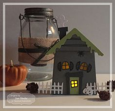 Haunted House Votive Holder (lit) by Jen Shults #HomeDecor, #Halloween, #SackittoYou, #TE, #ShareJoy