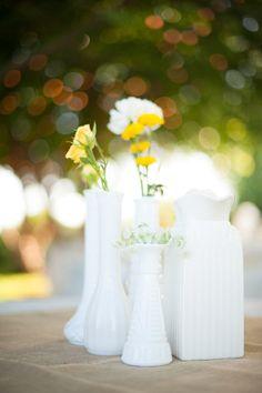 #milk-glass, #centerpiece  Photography: Erich McVey Photography - erichmcvey.com/  Read More: http://www.stylemepretty.com/2011/09/27/independence-oregon-wedding-by-erich-mcvey-photography/