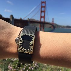 getting our steps in today walking across The Golden Gate Bridge (pictured: polished brass Matisse frame for #Fitbit Charge) #getbytten #TheMatisseCollection